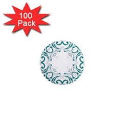 Vintage Floral Style Frame 1  Mini Magnets (100 Pack)