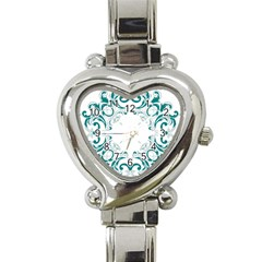 Vintage Floral Style Frame Heart Italian Charm Watch