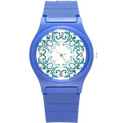Vintage Floral Style Frame Round Plastic Sport Watch (S)