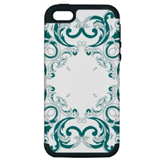 Vintage Floral Style Frame Apple Iphone 5 Hardshell Case (pc+silicone)