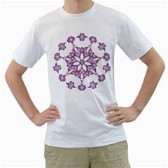 Frame Flower Star Purple Men s T-Shirt (White) (Two Sided)