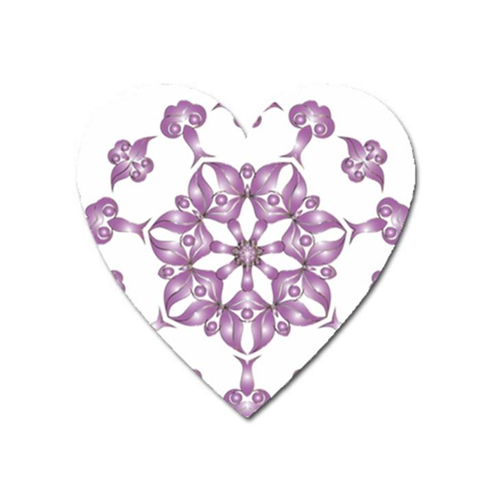 Frame Flower Star Purple Heart Magnet