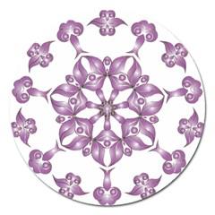 Frame Flower Star Purple Magnet 5  (round)