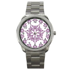 Frame Flower Star Purple Sport Metal Watch