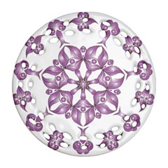Frame Flower Star Purple Ornament (Round Filigree)