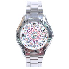 Frame Star Rainbow Love Heart Gold Purple Blue Stainless Steel Analogue Watch