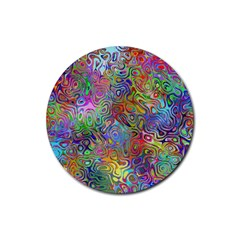 Glass Rainbow Color Rubber Round Coaster (4 pack)