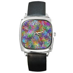 Glass Rainbow Color Square Metal Watch