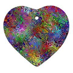 Glass Rainbow Color Heart Ornament (Two Sides)