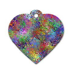 Glass Rainbow Color Dog Tag Heart (two Sides)