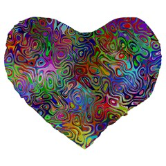 Glass Rainbow Color Large 19  Premium Heart Shape Cushions