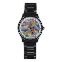 Glass Rainbow Color Stainless Steel Round Watch