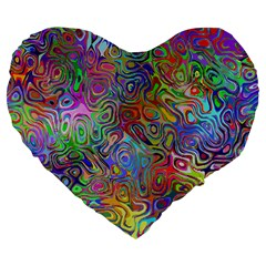 Glass Rainbow Color Large 19  Premium Flano Heart Shape Cushions