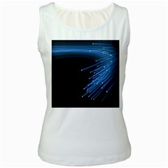 Abstract Light Rays Stripes Lines Black Blue Women s White Tank Top