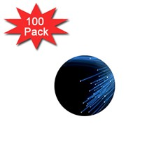Abstract Light Rays Stripes Lines Black Blue 1  Mini Magnets (100 Pack)