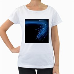 Abstract Light Rays Stripes Lines Black Blue Women s Loose-Fit T-Shirt (White)