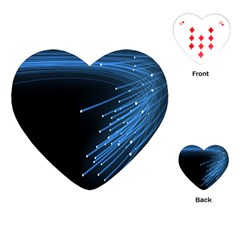 Abstract Light Rays Stripes Lines Black Blue Playing Cards (Heart)