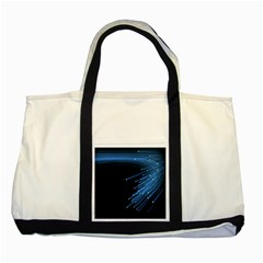 Abstract Light Rays Stripes Lines Black Blue Two Tone Tote Bag