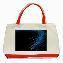 Abstract Light Rays Stripes Lines Black Blue Classic Tote Bag (Red)