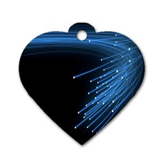 Abstract Light Rays Stripes Lines Black Blue Dog Tag Heart (One Side)