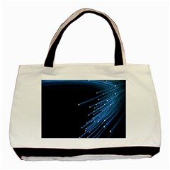 Abstract Light Rays Stripes Lines Black Blue Basic Tote Bag (Two Sides)
