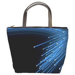 Abstract Light Rays Stripes Lines Black Blue Bucket Bags