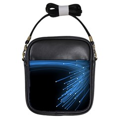 Abstract Light Rays Stripes Lines Black Blue Girls Sling Bags