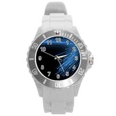 Abstract Light Rays Stripes Lines Black Blue Round Plastic Sport Watch (L)