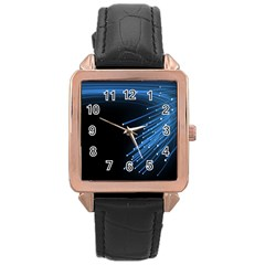 Abstract Light Rays Stripes Lines Black Blue Rose Gold Leather Watch