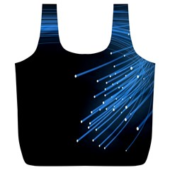 Abstract Light Rays Stripes Lines Black Blue Full Print Recycle Bags (L)