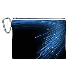 Abstract Light Rays Stripes Lines Black Blue Canvas Cosmetic Bag (L)