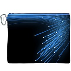 Abstract Light Rays Stripes Lines Black Blue Canvas Cosmetic Bag (XXXL)