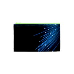 Abstract Light Rays Stripes Lines Black Blue Cosmetic Bag (XS)