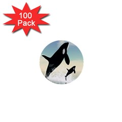 Whale Mum Baby Jump 1  Mini Buttons (100 Pack)