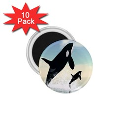 Whale Mum Baby Jump 1 75  Magnets (10 Pack)