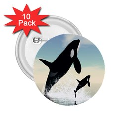 Whale Mum Baby Jump 2.25  Buttons (10 pack)