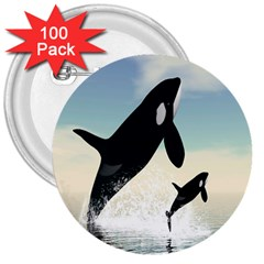 Whale Mum Baby Jump 3  Buttons (100 Pack)
