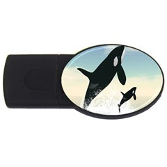 Whale Mum Baby Jump USB Flash Drive Oval (1 GB)