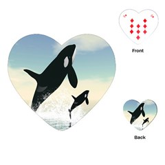 Whale Mum Baby Jump Playing Cards (Heart)