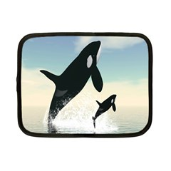 Whale Mum Baby Jump Netbook Case (Small)
