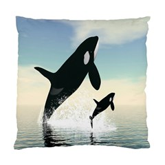 Whale Mum Baby Jump Standard Cushion Case (Two Sides)