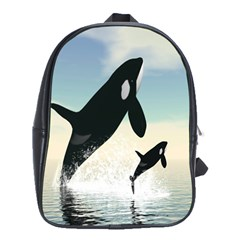 Whale Mum Baby Jump School Bags(Large)