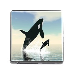 Whale Mum Baby Jump Memory Card Reader (square)