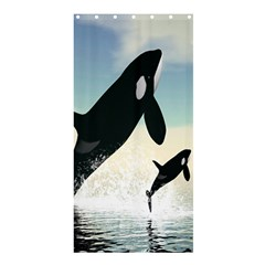 Whale Mum Baby Jump Shower Curtain 36  x 72  (Stall)
