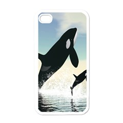 Whale Mum Baby Jump Apple Iphone 4 Case (white)