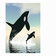 Whale Mum Baby Jump Small Garden Flag (Two Sides)