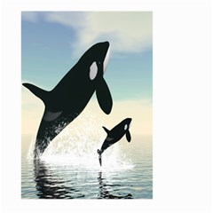 Whale Mum Baby Jump Large Garden Flag (Two Sides)