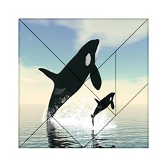 Whale Mum Baby Jump Acrylic Tangram Puzzle (6  x 6 )