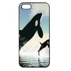 Whale Mum Baby Jump Apple iPhone 5 Seamless Case (Black)