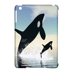 Whale Mum Baby Jump Apple iPad Mini Hardshell Case (Compatible with Smart Cover)